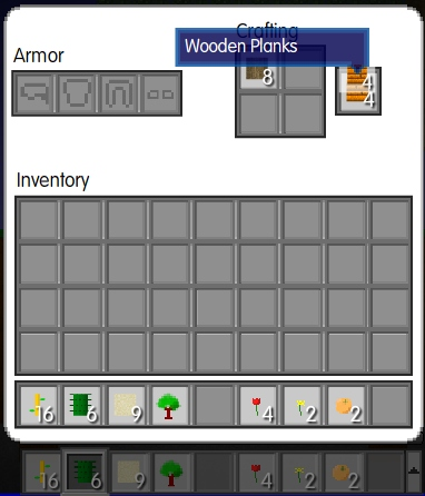 Mine Blocks Crafting Wooden Planks